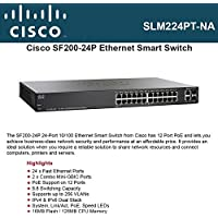 Cisco SF200-24P Smart Switch. SF200-24P SLM224PT-NA 24PORT 10/100 POE SMART SW W/ GB UPLINKS STD-SW. 26 Port - 2 Slot - 12, 12, 2 x 10/100Base-TX - , 10/100Base-TX - , 10/100/1000Base-T - Power Over Ethernet - 2 x SFP (mini-GBIC) Slot