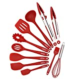 Silicone Kitchen Utensils Set 11-Piece Cooking Tool and Gadget Set Baking Whisk Brush Spatulas (Red)