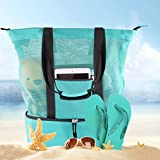 Mesh Beach Tote Bag with Insulated Cooler Picnic Top Zipper Large Canvas Shoulder Bag (Turquoise)