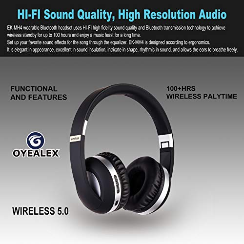 OYEALEX Bluetooth Headphones Over Ear,Cell Phones/TV 120 Hours Standby time Wireless High Fidelity Stereo Over-Ear Headphones (Blue)
