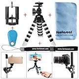Fantaseal Smartphone Tripod w/Bluetooth RC Remote Control Cellphone Mount Universal Smartphone Tripod Holder Stand DSLR Camera Mini Octopus Tripod Flexible for iPhone Huawei -BL