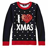 Girls Black I Love Christmas Sweater Glitter Heart Holiday Top Medium