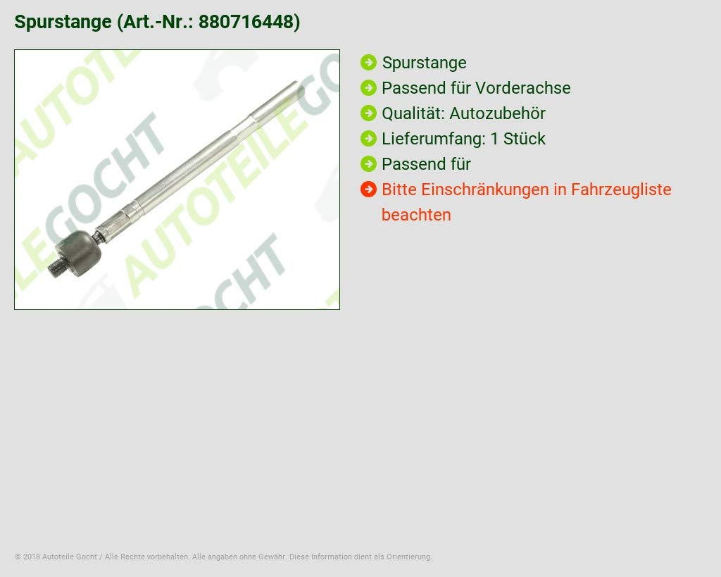 SPURSTANGE AXIALGELENK VORDERACHSE LINKS//RECHTS FÜR PEUGEOT 807 *NEU*