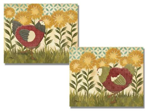 Set of 2 Sunny Sunflower Hen Posters by Paul Brent 8x10 Inches Chicken Art Prints ()
