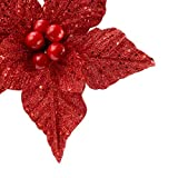 FUNARTY 1 Pieces Glitter Poinsettia Christmas
