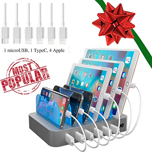 Hercules Tuff iPhone Charging Station - Multi Charger Station for 6 Devices - (The Original - 4 Cables for Apple, 1 TypeC, 1 MicroUSB)