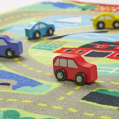 "Melissa & Doug Round the Town Road Rug & Car Set (Cars & Trucks, Safe for All Floors, 4 Wooden Cars, 36"" W x 39"