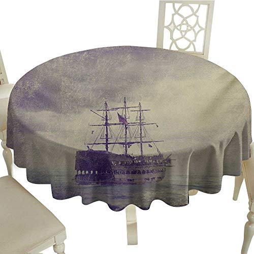 Round Tablecloth 60 Inch Nautical,Old Pirate Ship in The Sea Historical Legend Cruise Retro Voyage Grunge Style Art,Tan Plum Perfect for Spring,Summer,Farmhouse Décor,& More -