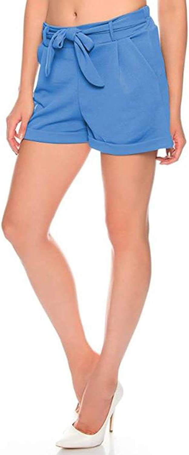 Kendindza Damen Sommer Shorts Kurze Hose mit Schleife zum binden Bermuda Uni-Farben