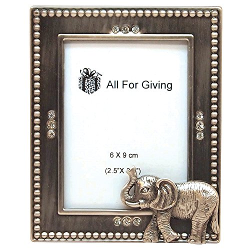 All For Giving Elephant Picture Frame, 2.5 by 3.5-Inch, Pewter (Frame Elephant)