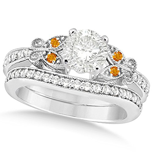 Butterfly Round Diamond and Citrine Engagement Ring and Band Bridal Set 14k White Gold 0.71ctw