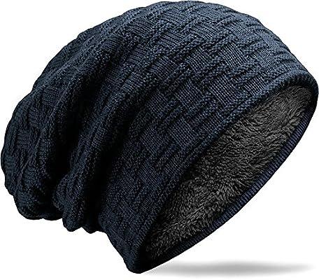 MUCO Gorros Hombre Mujer Unisex Invierno Cálido Sombreros de Punto Forro  Polar Beanie Gorro 33e73c48387