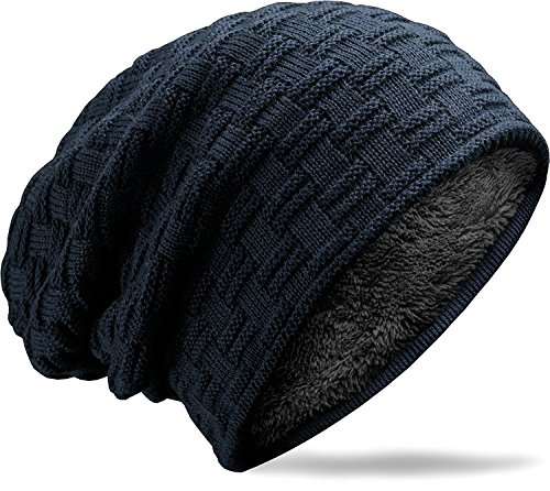 Knitted Cap Pattern (muco Mens Womens Hat Beanie Cap, Unisex Winter Warm Knitted Hats, Fleece Lining Slouch Skull Beanies Caps For Men Women)