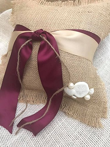Amazon Com Burgundy And Champagne Burlap Beach Wedding Ring Bearer