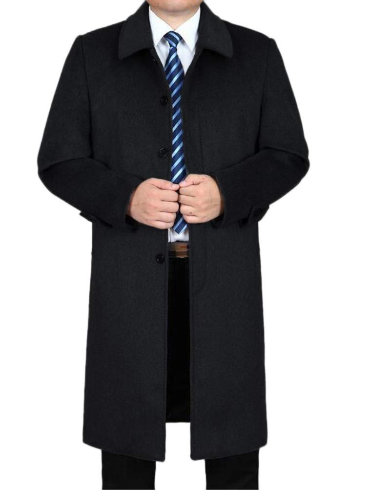 Mordenmiss Men's Wool Single Breasted Winter Trench Jacket Woolen Pea Coat Style 1 Black L by Mordenmiss