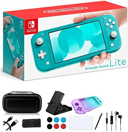 """Newest Nintendo Switch Lite - 5.5"""" Touchscreen Display, Built-in Plus Control Pad - Family Holiday Gaming Bundle - 802.11ac WiFi, Bluetooth 4.1 - iPuzzle 9-in-1 Carrying Case - Turquoise"""