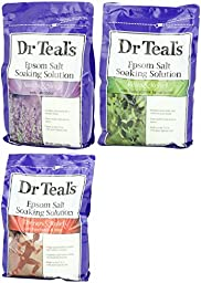 Dr. Teal\'s Epsom Salt Bundle, 3 Items: 1 Relax & Relief Eucalyptus Spearmint 3lbs, 1 Sooth & Sleep Lavender 3lbs and 1 Therapy & Relief Rosemary and Mint 3lbs.