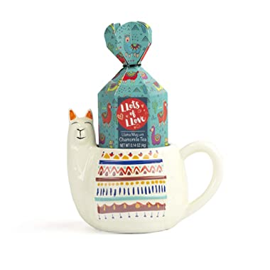 Thoughtfully Gifts, The Llama Mug  Lots of Love  Stress-Reducing Gift Set, Includes Refreshing and Restorative Chamomile Tea in a 14 Ounce Llama-Shaped Ceramic Mug