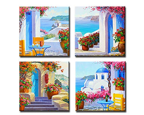 Decor Well - Greece Santorini Landscape Painting Blue Prints Canvas Art Wall Decoration Set of 4, Ready to Hang