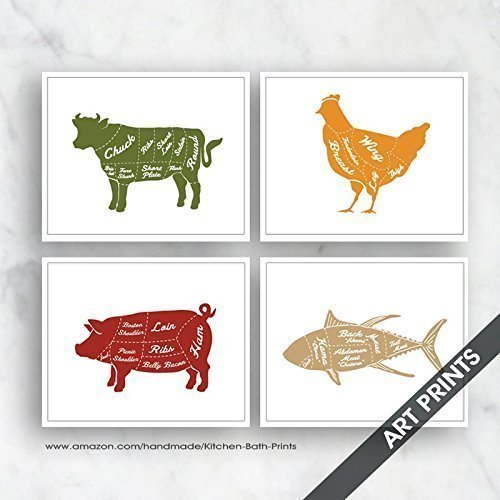 Beef, Chicken, Pork and Fish (Butcher Diagram Series) Set of 4 5x7 inch Unframed Art Prints (Featured in Olive, Tuscan Tile, Red Shutters, Tan) Kitchen Art / Wall - Beef 10
