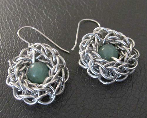 Chainmail Earrings, Chainmail Jewelry, Chainmaille Earrings, Handmade Earrings for Women, Aventurine Earrings, Green Earrings