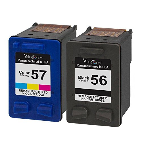 Valuetoner Remanufactured Ink Cartridges for HP 56 & HP 57 C9321BN C6656AN C6657AN (1 Black, 1 Tri-Color) 2 Pack for HP Deskjet 5550 5650 5150, Photosmart 7350 7260 7450 7550 7760, PSC 2410 Printer