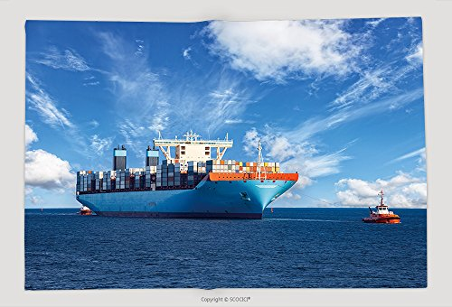 Supersoft Fleece Throw Blanket Tugboats Assisting Container Cargo Ship To Harbor 326359325
