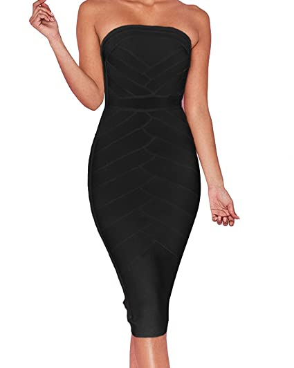 Uonbox Womens Strapless Tube Bodycon Below Knee Length Club Party