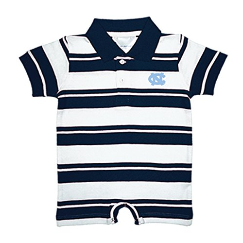 North Carolina Tar Heels NCAA College Infant Baby Rugby Striped Romper (12 Months) ()