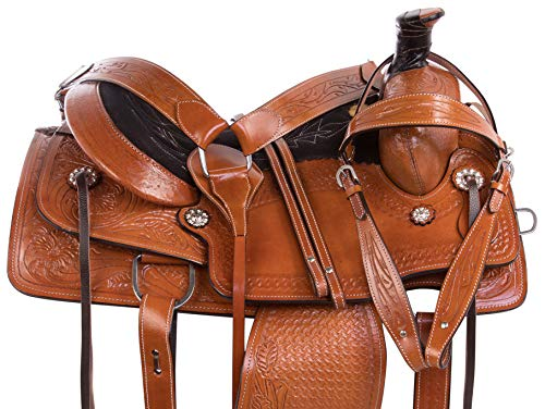 "- AceRugs 15"" 16"" 17"" 18"" Roping Western Leather Tooled RANCHING Comfy Pleasure Horse Saddle TACK Set Premium (16)"