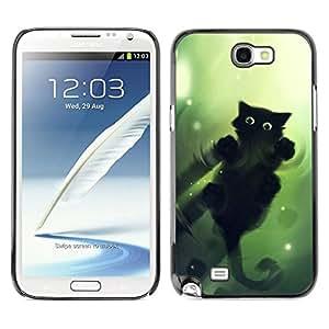 // PHONE CASE GIFT // Duro Estuche protector PC Cáscara Plástico Carcasa Funda Hard Protective Case for Samsung Note 2 N7100 / Gato Verde /