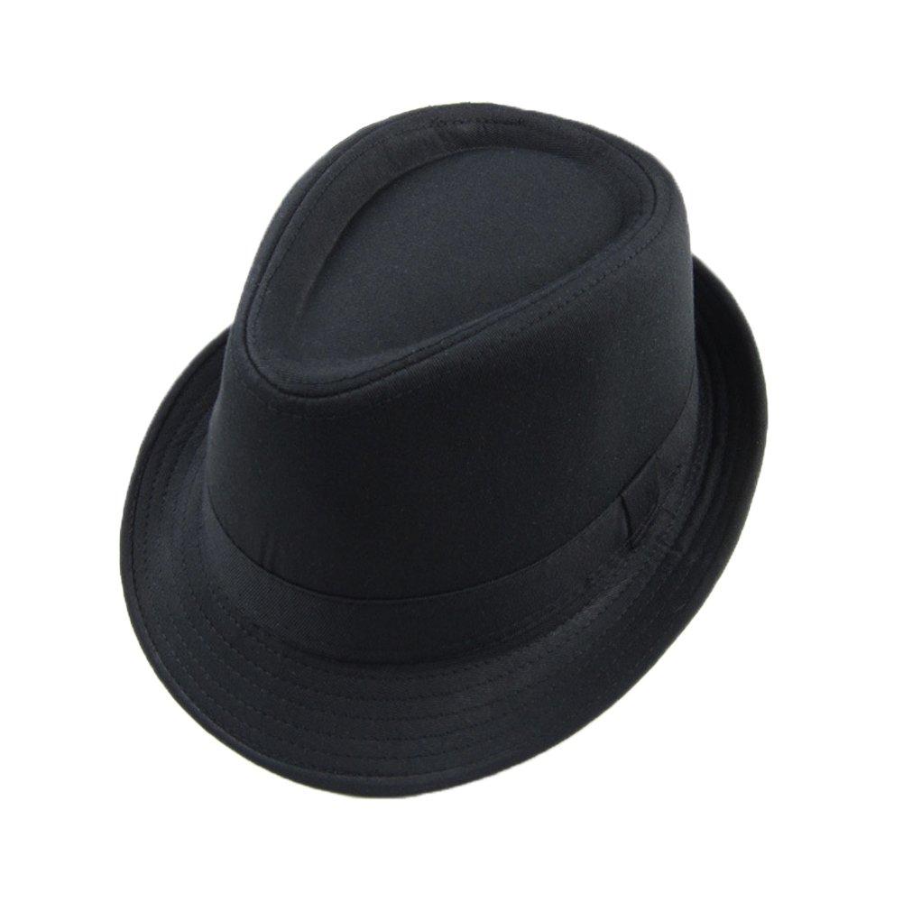 132075c33d0dd Amazon.com   New Fashion Women Fedora Curly Floppy Brim Chapeu Panama Black  British Jazz Hip-Hop Hats for Men Bowler Hat Unisex Top Quality    Everything ...