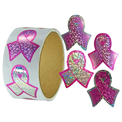 Roll of 100 Pink Ribbon Sparkle Stickers for Breast Cancer Awareness