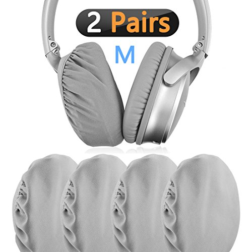 Stretchable Fabric Headphone Earpad Covers / Washable Sanitary Earcup Protectors, Fits 3.14 - 4.33 (8cm-11cm Ear Pad) Over-Ear Headset Ear cushions / Good for Gym, Sports (Gray 2 Pairs)