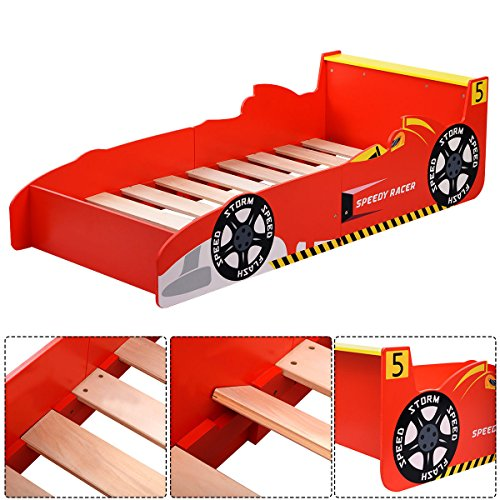 Kids Race Car Bed Toddler Bed Boys Child Furniture Bedroom Red Wooden New by wang tong shop