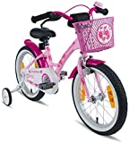PROMETHEUS Kids bike 16 inch Girls in pink purple & white with stabilisers | Aluminum Calliper brake and backpedal brake | including security package | as from 5 years | 16' Classic Edition 2018