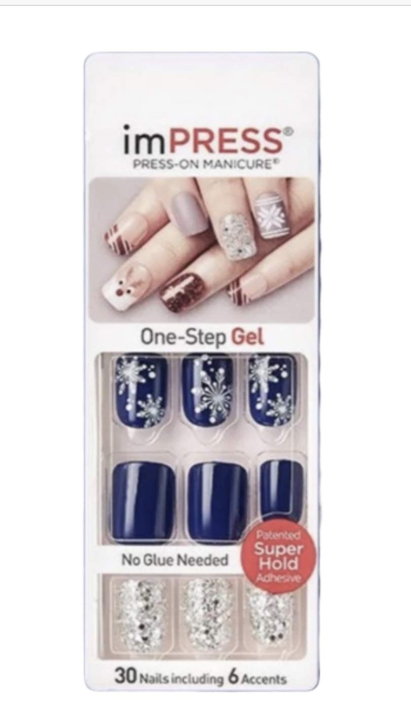 Kiss Impress Press On Manicure Navy Blue Nails 62303 Bells Whistles Snowflakes