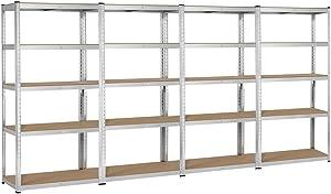 Yaheetech Heavy Duty Adjustable 5-Shelf Garage Shelving Storage Shelf Steel Shelving Units Utility Rack for Home/Office/Dormitory/Garage, 4 Packs
