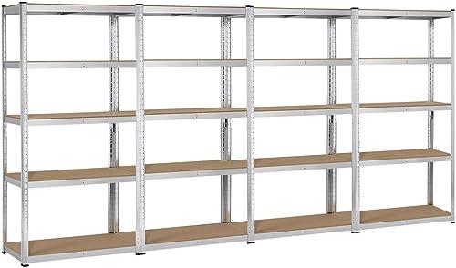 Yaheetech Heavy Duty Adjustable 5-Shelf Garage Shelving Storage Shelf Steel Shelving Units Utility Rack for Home Office Dormitory Garage, 4 Packs