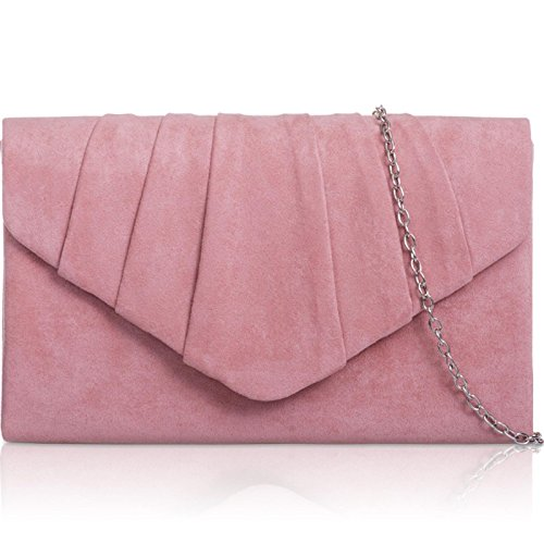 Xardi London New Faux Suede Leather Women Clutch Bridesmaid Envelope Ladies Evening Prom Bags Blush