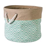 DII Collapsible Burlap Storage Basket or Bin with Durable Cotton Handles, Home Organizational Solution for Office, Bedroom, Closet, Toys, & Laundry (Medium Round - 15x12''), Diamond Aqua