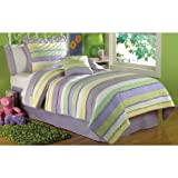 PEM America Annas Ruffle Quilt Set in Purple and Yellow - Twin
