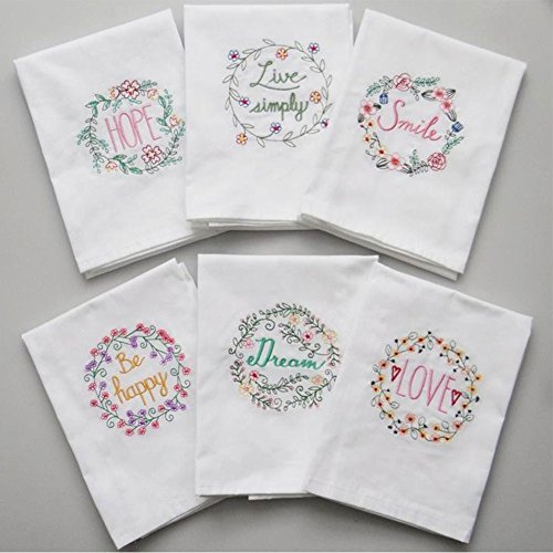 Fyore Cotton Kitchen Dish Towel Set Decorative Tea Towel with Positive Letter for Christmas Table Dining Decorations Holiday Gifts 17.7x27.5inch Pack of 6pcs (Letter)