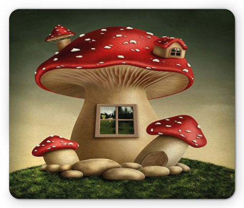 Mushroom Mouse Pad by Lunarable, Alone Fantasy Mushroom House in Fantasy Forest Cottage Window Surreal, Standard Size Rectangle Non-Slip Rubber Mousepad, Pale Brown Green Red