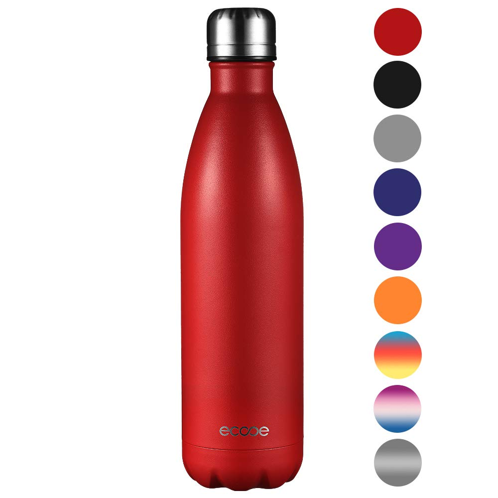 Ecooe Insulated Double Walled Stainless Steel Flask 500-750ml Reusable Thermos Vaccum Water Bottle for Hot and Cold Drinks BPA Free Leak Proof