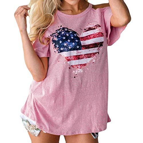 Girocollo Camicetta Americana Rosa taglia T Tops Donna M shirt Usa Donna Casual Rosa Shoulder Bandiera Stampa Cold Aibarle Da UExzqIw
