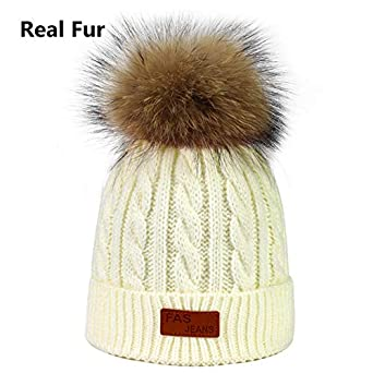 ef0e943e3ba1db World 2 home 2018 Fashion Raccoon Fur Pom poms Children's Knit Beanies Hat  High Quality Winter Hat Warm Boy Girl Thicken Hedging Cap Kids: Amazon.in:  ...