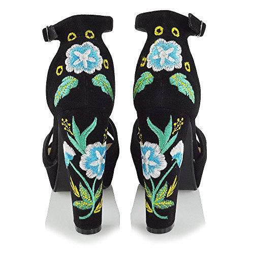 Finto Sandalo Floreale ESSEX Caviglia Cinturino Scamosciato Piattaforma Scamosciato Finto Nero Ricamato alla GLAM Donna w7qn7x1H