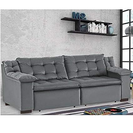 Magnificent Sofa Retratil 4 Lugares Suede Confort Umaflex Cinza Amazon Pdpeps Interior Chair Design Pdpepsorg