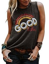 NANYUAYA Women Summer Sleeveless Good Vibes Rainbow Print Casual Tank Tops Shirts